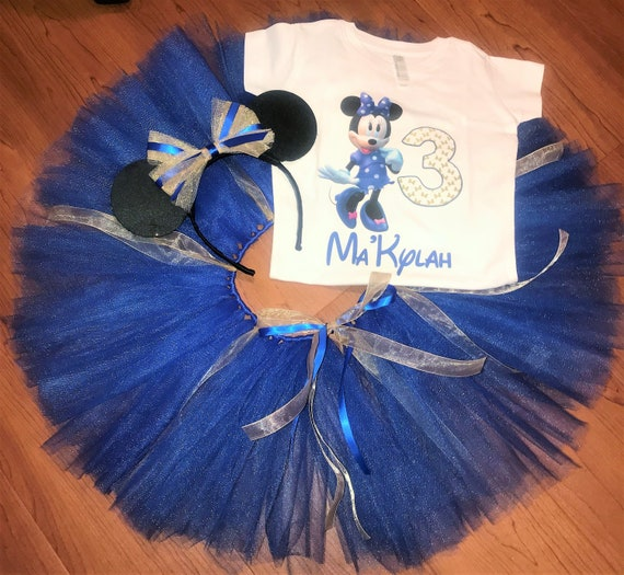 70d8a8efb82e1 ... Minnie Mouse Birthday Outfit, Minnie Mouse Blue and Gold, Custom Minnie  Mouse Outfit,