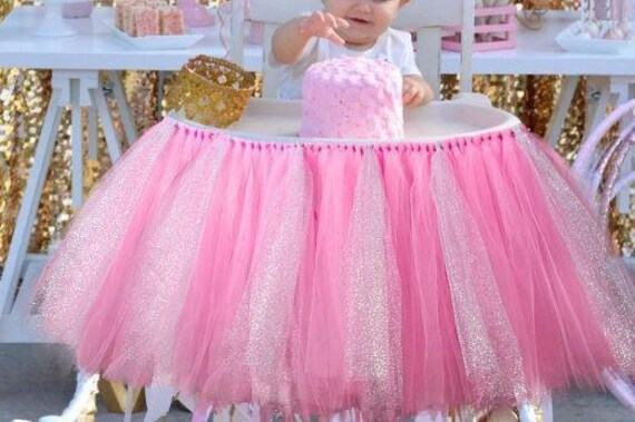 Highchair Tutu - Any Colors Available, Pink Highchair Tutu, Pink High Chair Tutu, Pink and Gold, 1st Birthday Tutu, Baby Girl Birthday Tutu