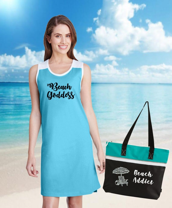 Woman's Beach Set, Beach Tote, Beach Coverup, Woman's Beach Dress, Beach Goddess, Beach Addict, Gift for Beach Lover, Mother's Day Gift