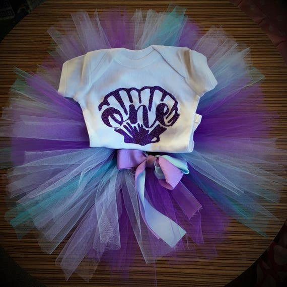 Mermaid Birthday, Mermaid First Birthday Outfit, Mermaid Tutu, Purple First Birthday Bodysuit, Purple and Teal Tutu, Mermaid Tutu Outfit