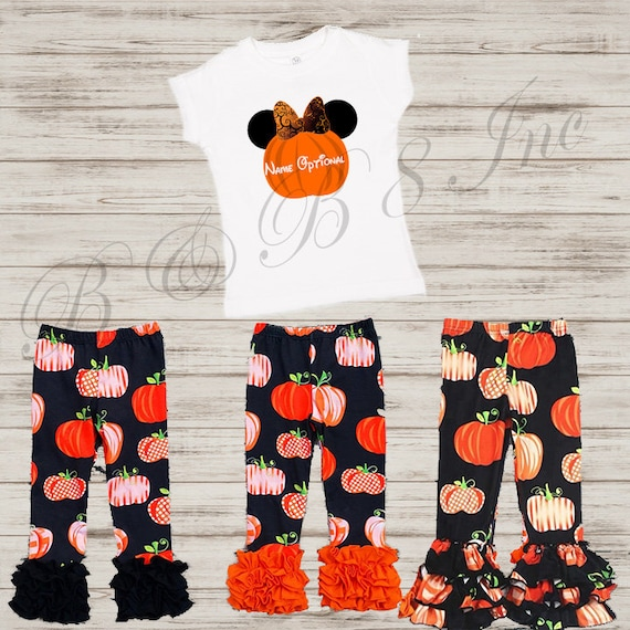 Minnie Mouse Pumpkin Outfit, Pumpkin Outfit, Not so scary Halloween, Fall Outfit, Ruffle Pants, Minnie Mouse Shirt **** READY TO SHIP***