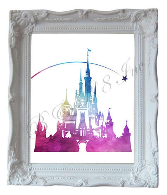 Cinderellas Castle Watercolor Painting, Instant Download, Princess Castle Watercolor, Art Work
