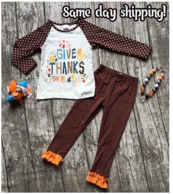 On SALE! Thanksgiving Girls Outfit, Children Clothing Set,  Thanksgiving, Thanksgiving Outfit, Turkey Outfit, Ready to Ship