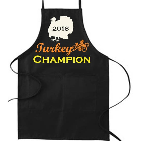 Turkey Champion Apron, Thanksgiving Apron, Chef Apron, Thanksgiving Apron, Gift for Mom, Canvas Apron, Autumn, Mom, Chef, Loves to cook