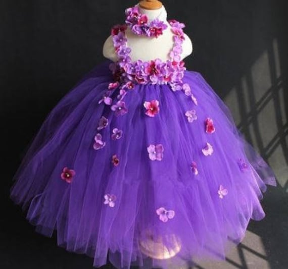 Purple Flower Girl Dress with Flowers, Flower Girl Dress, Purple tulle dress, Flower Girl