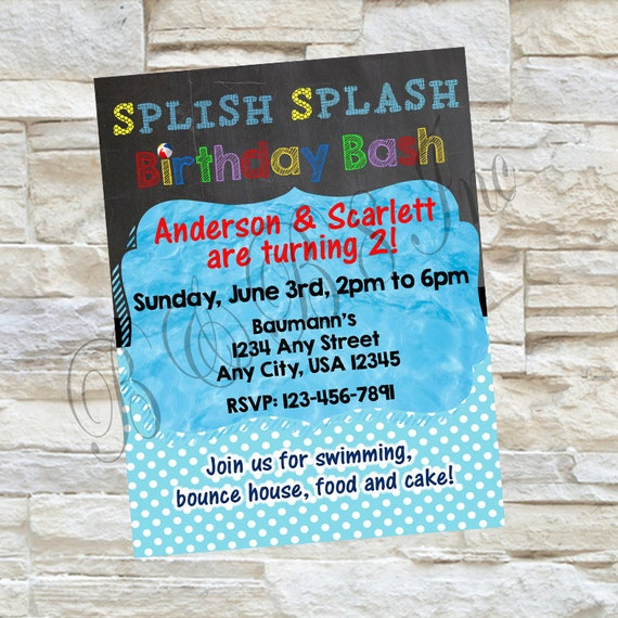 Splish Splash Birthday Invitation, Splish Splash Invitation, Splash Party Invitations, Splash Party, Pool Party Invitations, Pool Birthday