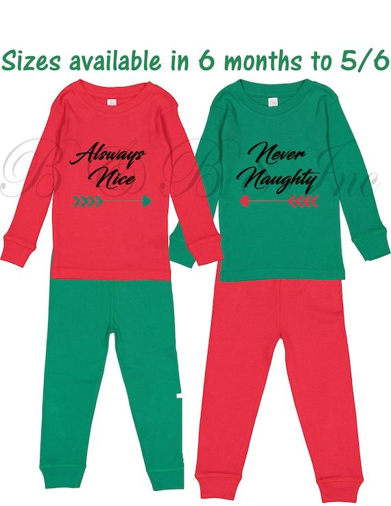 Christmas PJs, Naughty Nice PJs, Sibling PJs, Twinning PJs, Christmas Pajamas