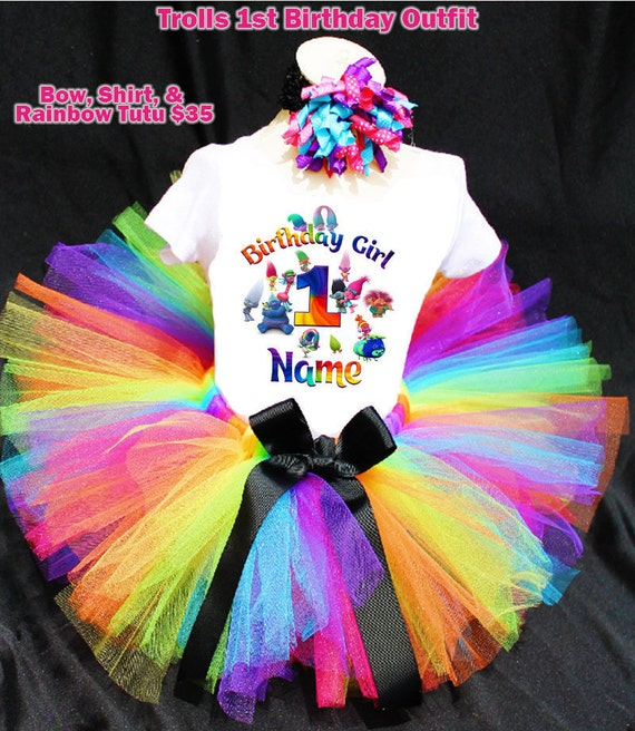 Trolls 1st Birthday Outfit, First Birthday, Trolls Tutu, Trolls Shirt, Girls Birthday, Trolls Birthday, Troll TShirt, Troll Personalized