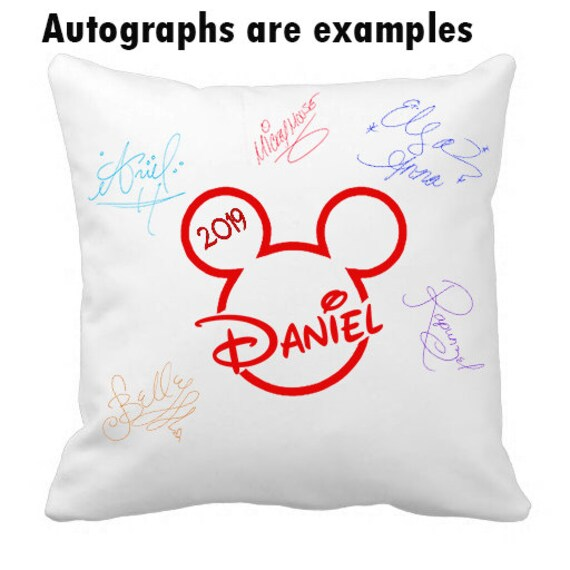 Autograph Pillow Case, Disney, autograph, pillow cover, pillowcases, Mickey Head, Disney Trip, gift idea, Custom, personalized