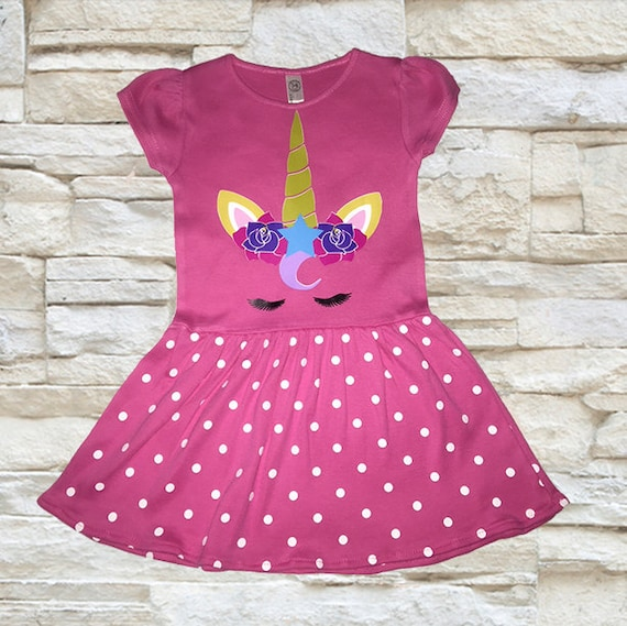 Unicorn Dress Unicorn Birthday outfit Pink Polka Dot Dress Unicorn Girls Costume unicorn dress Girls dress