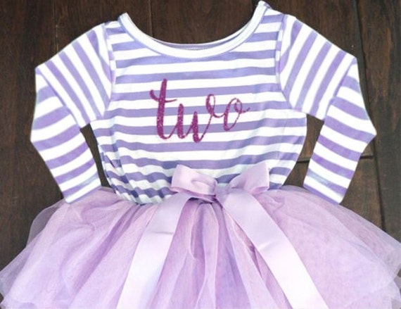 2nd Birthday Pink and White Dress, 2nd Birthday Purple and White Dress