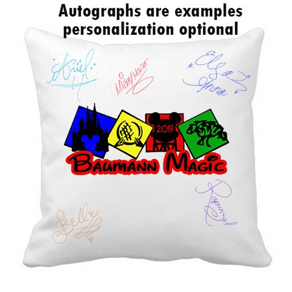 Autograph Pillow Case, Park Hopper, autograph, pillow cover, pillowcases, Disney Castle, Disney Trip, gift idea, Custom, personalized