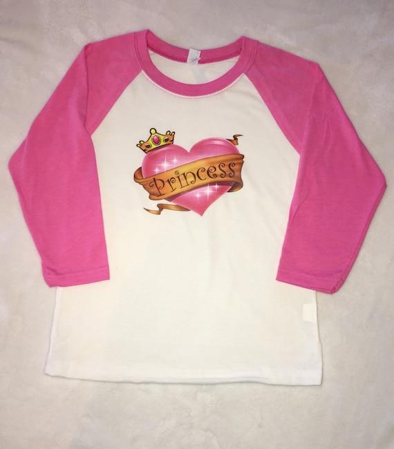 Princess Raglan Shirt, Pink Raglan, Princess Girls Shirt, Girls Pink tshirt