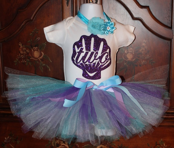 Mermaid Second Birthday Outfit, Mermaid Birthday, Mermaid Tutu, Purple Second Birthday, Purple and Teal Tutu, Purple Headband