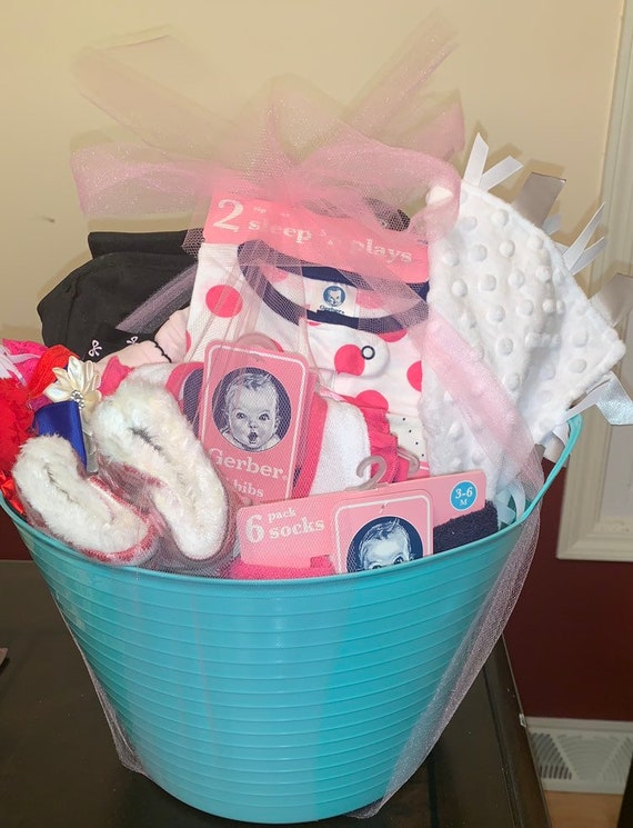 Custom Baby shower gift, baby gift basket