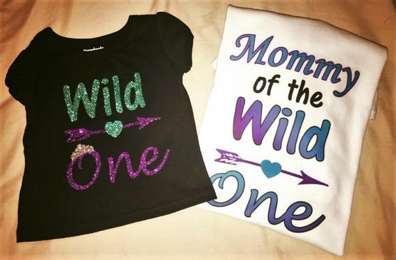 Wild One, First Birthday, Mother Daughter, Glitter, Purple and Teal, Wild One Birthday, Mommy of the wild one, Mother of the birthday girl