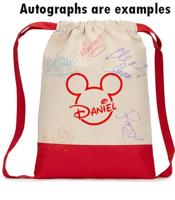 Autograph Bag, Disney, autograph, Disney Reveal, Disneyland Reveal, Mickey Head, Disney Trip, gift idea, Custom, personalized