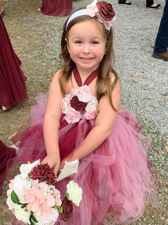 Wine Flower Girl Dress with Flowers, Flower Girl Dress, Wine tulle dress, Flower Girl
