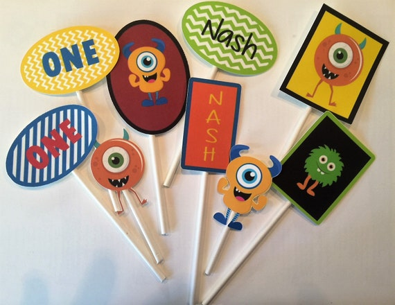 Monsters Themed Cupcake Toppers Toppers, Picks, Cake Toppers, Cake Topper Pick, Cupcake Picks, Birthday, Monster