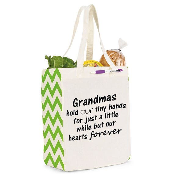 Grandmas in our hearts forever reusable tote, Gift for Grandma, Reuseable tote, gift, Mothers Day, Personalized Gift for Grandma