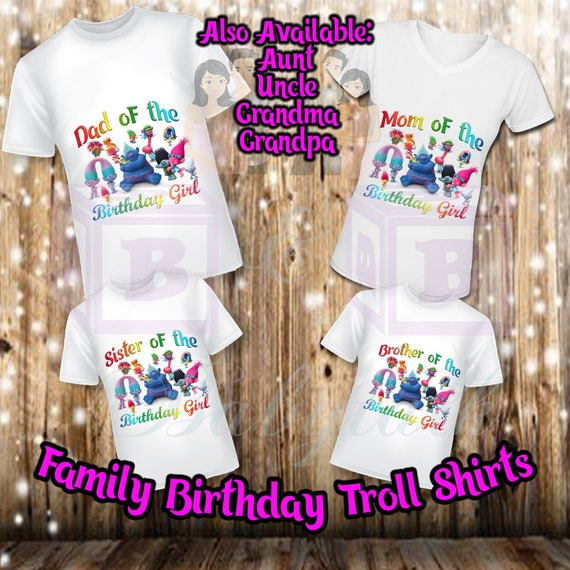 Family Birthday Troll Shirts, Family Birthday Shirts, Troll Shirt, Mom of the Birthday Girl, Dad of the Birthday Gril, Sister Shirt, Brother