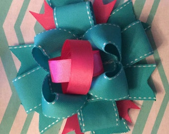 Oversized Bow, Boutique Bow, Teal and Pink Bow, Headband