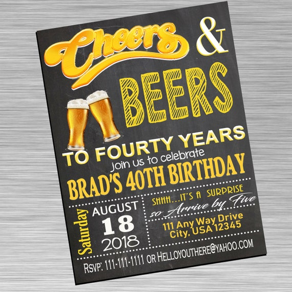 40th Birthday Invite, Cheers to 40, Cheers to Forty, Custom Birthday Invite
