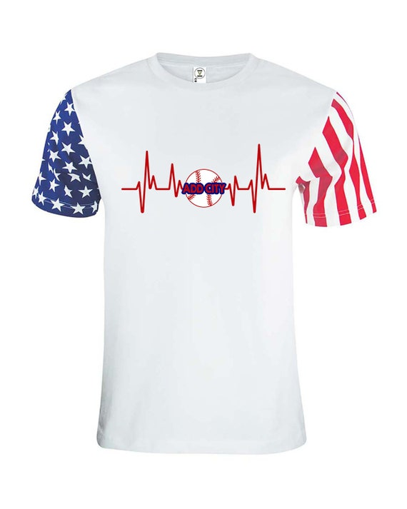 Baseball Shirt, Love of Baseball, Heartbeat Baseball, Red White Blue, USA Baseball
