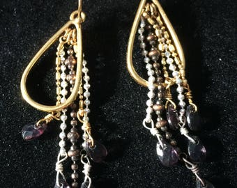 Pilgrim - Gold teardrop dangle earrings