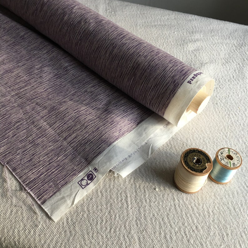 Stiff Medium Weight Cotton fabric by the yard Lavender Micro Organic Stripe
