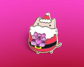 Santa cat enamel pin, santa enamel pin, cat accessory, cute enamel pin, cute pins, cat pin, christmas enamel pin, fashion accessory