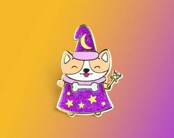 Corgi Enamel Pin, Dog Enamel Pin, Cute Enamel Pin, Kawaii Enamel Pin, dog pin, corgi pin, Fashion accessory, Wizard Pin, Puppy
