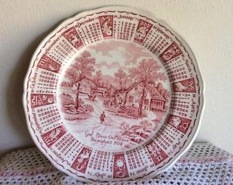Alfred Meakin Zodiac Calender 1974 Red Plate