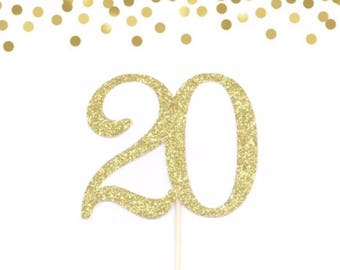 Lots Colors 20 Cake Topper Twenty Birthday 20th Table Decorations Sparkle