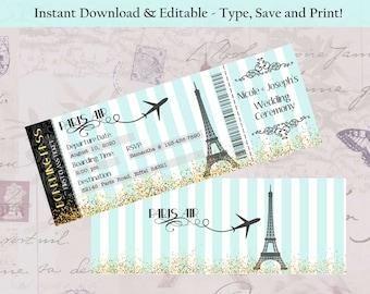 Editable Double Sided Boarding Pass Invitation Paris Theme Bridal Shower Wedding Bachelorette Birthday