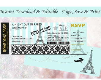 Paris Boarding Pass Invitation Etsy