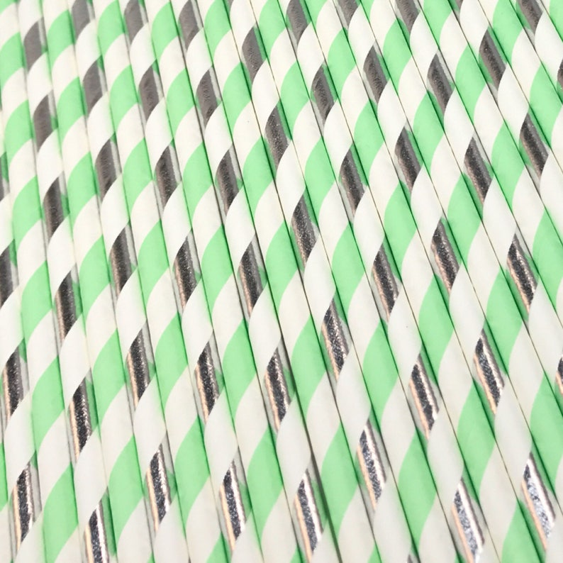 Mint and Silver Party Baby Shower Straw Mint and Silver Straws Wedding Decor Mint and Silver Striped Straws Engagement Party Decor