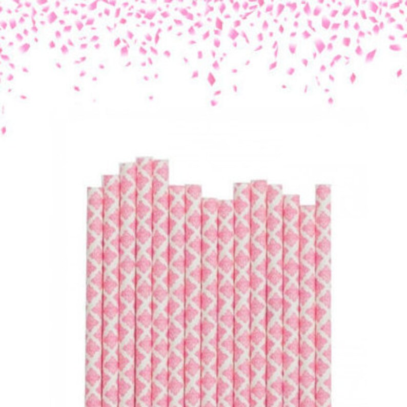 25 Pink Damask Straws Paris Theme Party Decor Vintage Style Party Decor Bridal Shower Decor Baby Shower Decor Pink and Gold Party Decor