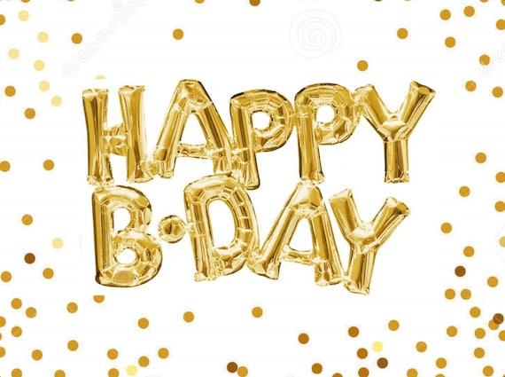 30 Happy Birthday Balloon Gold Foil