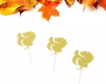 Turkey Cupcake Topper, Thanksgiving Cupcake Topper, Little Turkey Party, Thanksgiving Dinner Party Decor, Fall Baby Shower, Xmas Cupcake