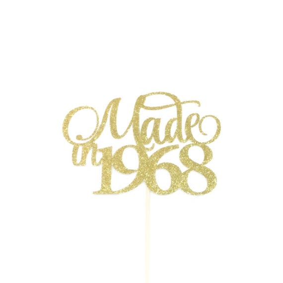 Custom Vintage Cake Topper with any Year 1967,1977,1957..Birthday Cake Topper,