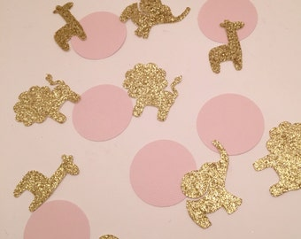 Baby Shower Confetti, Baby Birthday Confetti, Jungle Animal Baby Shower, Baby Shower Jungle theme, Baby Shower Safari, Pink and Gold Party