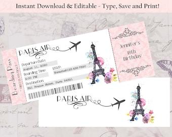 Editable-Double Sided Boarding Pass Invitation, Paris Theme Invitation, Bridal Shower Invitation, Wedding Invitation, Bachelorette, Birthday