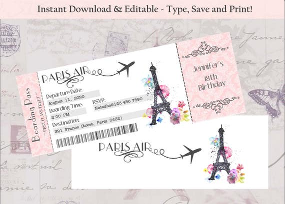 Editable Double Sided Boarding Pass Invitation Paris Theme Etsy