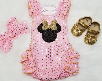 Minnie Mouse Romper Pink Gold Glitter Disney Inspired 1st Birthday Outfit Cake Smash Baby Girl Toddler