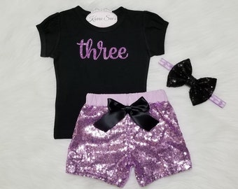 Third Birthday Outfit / Lavender Sequin Shorts / Glitter Purple Birthday / 3rd Birthday / Princess / Cake Smash Outfit/ Baby / Girl/ Toddler