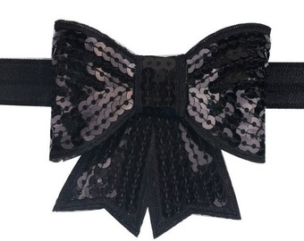 Black Sequin Bow Headband ~ Bling ~ Pageant ~ Photo Prop ~ Baby Headband ~ Girls Headband ~ Big Bow Headband ~ Sequin Bow Headband