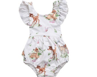 5bba61b580d Bambi Romper   Little Deer Romper   Disney Romper   Bambi Deer Romper    Thumper   Princess   First Birthday   1st Birthday   Baby   Girl