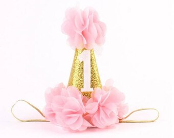 Birthday Party Hat / Pink & Glitter Gold / Cake Smash Hat / 1st Birthday Princess / Photo Prop / Pageant / Infant / Baby / Girl / Toddler
