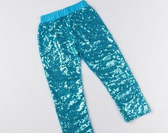 84c18b05eed9 Blue Sequin Pants / Turquoise Sequin Leggings / Toddler Sparkle Pants / Girls  Shiny Pants / Baby Girl Leggings / Toddler Sparkle Leggings